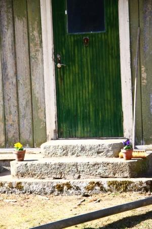 gamla köksdörren. stentrappan har vi använt till verandan på baksidan.